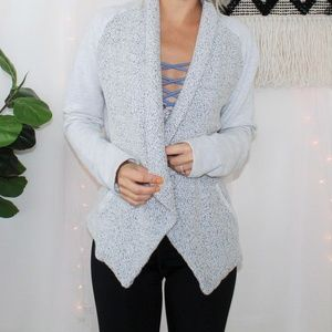 LOFT Open Front Gray Knit Cardigan Jacket